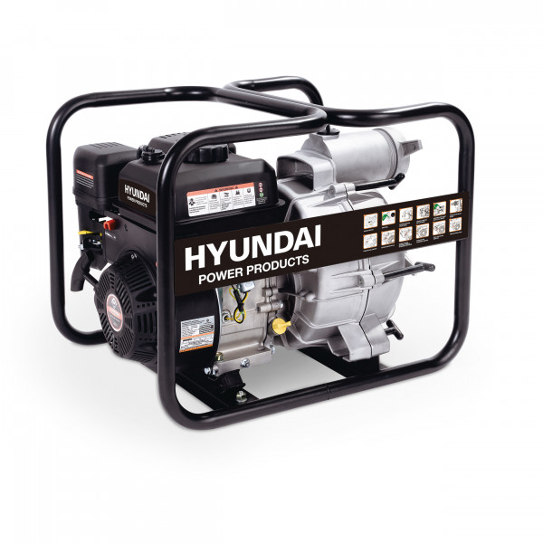 Waterpump gasoline Hyundai for dirty water Pump inlet/outlet 80mm Pump lift: 25 mtr. Suction height: 7 mtr. Max. cap.: 45 m3/h Engine: LS208, Euro 5 208cc, 7.0 HP packing: color box