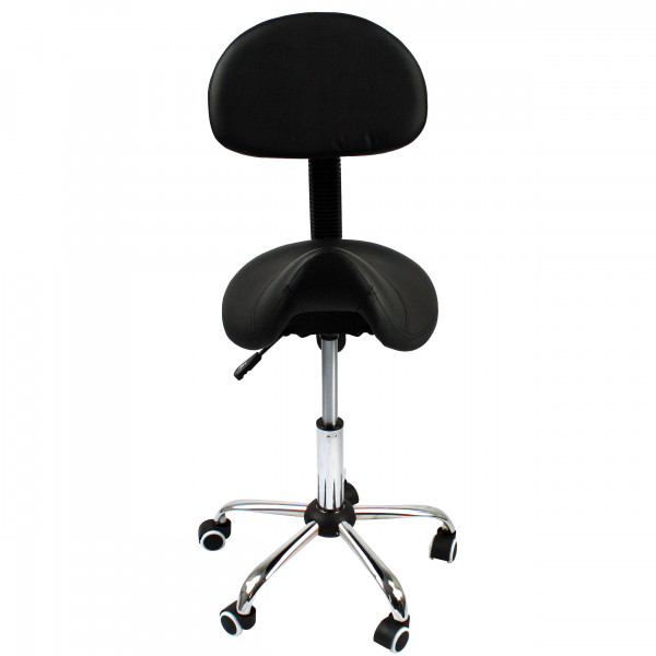 Lowander saddle stool with backrest - barber stool / office chair - ergonomic stool - black