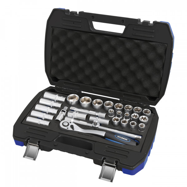"29pcs socket set Hyundai 1/2""socket:10-11-12-13-14-15-17-19-20-21-22-24-27-30- 32mm 1/2""deep socket:16-17-18-19-22mm 1/2""ratchet handle 72T 1/2""extension bar:5""&10"" 1/2""three way adaptor 1/2""universal joint 1/2""E socket:E20-24 1/2""plug spark 16-21mm 2 color BMC with color sticker and shrink"