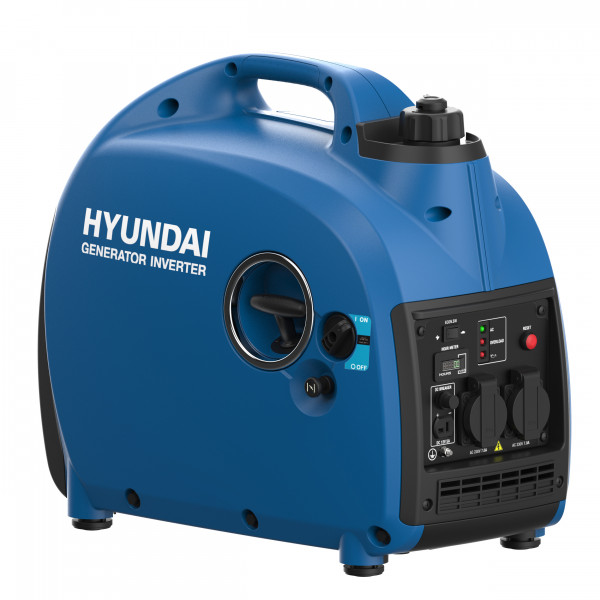 Hyundai Invertor -Generator Gasoline 2000W HY2000 I single phase 230V. 50Hz. DC12v/5A sockets: 2x230V max. output 2.0Kva, rated output 1.6Kva Domestic engine single cylinder, 4 stroke force air cooled, OHV. 79cc.Euro V oil cap. 0.41L, fueltank cap. 3.8L starting system; recoil.houremeter on display noise level 60 dB(A) packing: color box