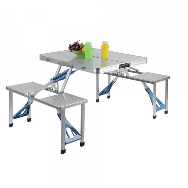 NordFalk table de pique-nique pliante 4 places - table de camping en aluminium 123x87x66 cm