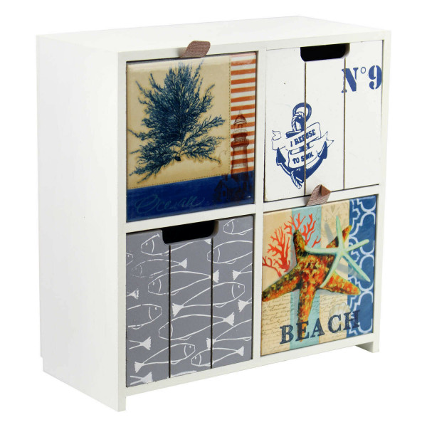Chest of drawers 4 compartments - small model 22x10x23.5 cm - compact storage cabinet 'BEACH