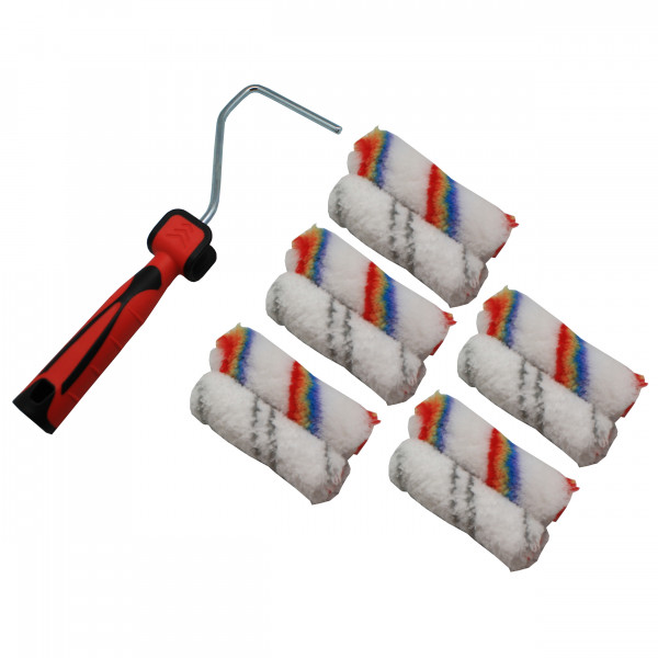 Paintroller set 11 pieces; 5pcs X 100mm microfiber roller + 5pcs X 100mm roller + 1 x 26cm roller handle black/red color Packaging: Double blister Red block price on packaging: € 7,99 Packed: 12 Export packing to be marked with: Art. no. 12529 Quantity Scanable barcode: 8714426125293 All material of product must meet min. requirements according CE for PAH's, Cd. Pb and Phthalate. All material for packaging should meet minimum requirements according to 94/62 EC(2004/12/EC, 2005/20/EC) and for Pb, Cd, Hg and Chr(VI).